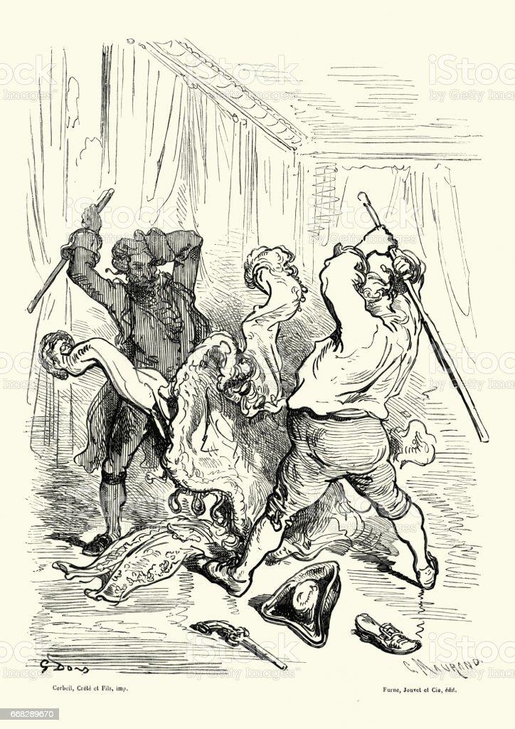Adventures of Baron Munchausen - Fur cloaks madness vector art illustration