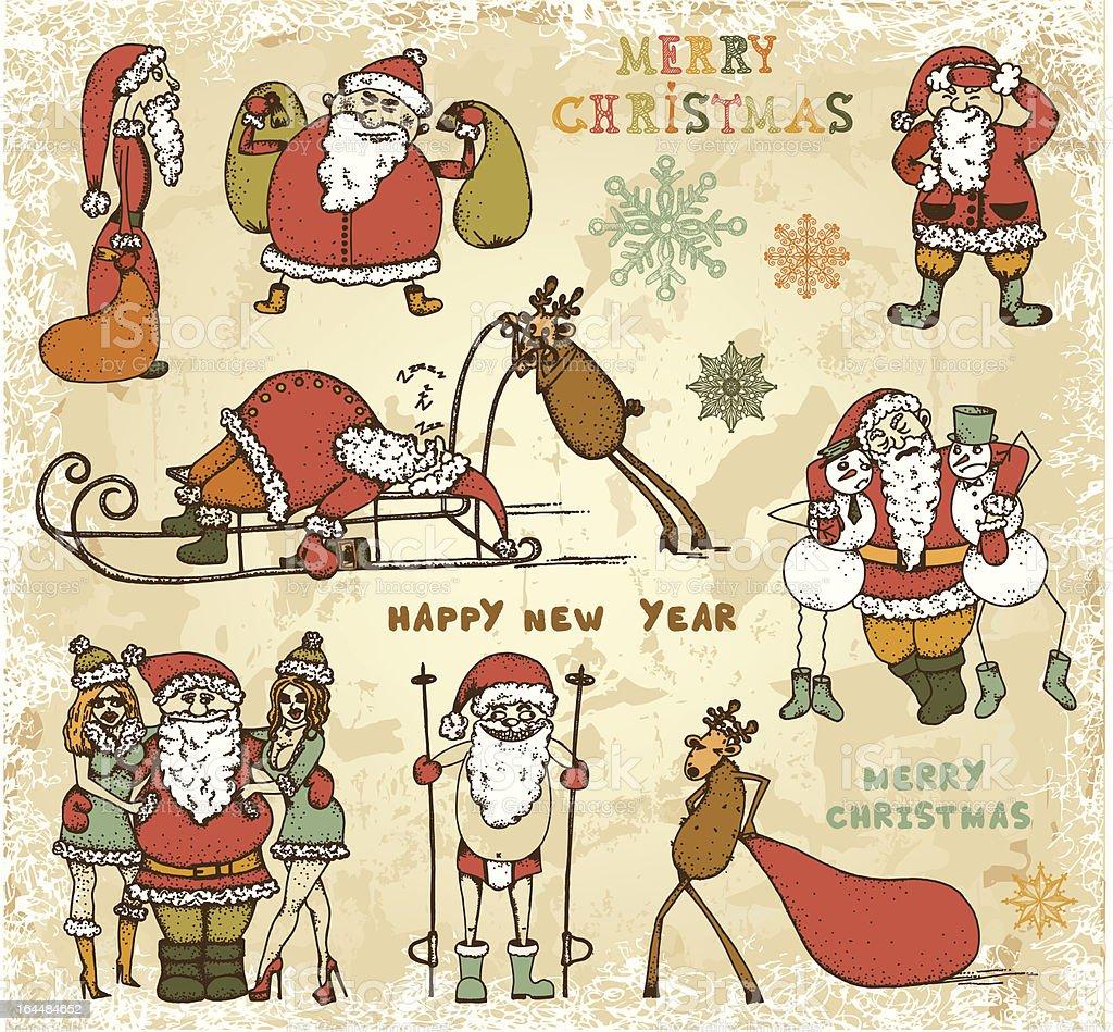 Adventures of Drunk Santa Claus royalty-free stock vector art