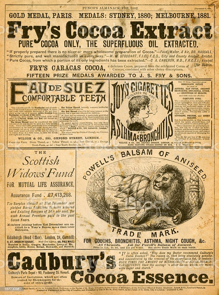 Advertisements from Punch's Almanack for 1882 royalty-free stock vector art