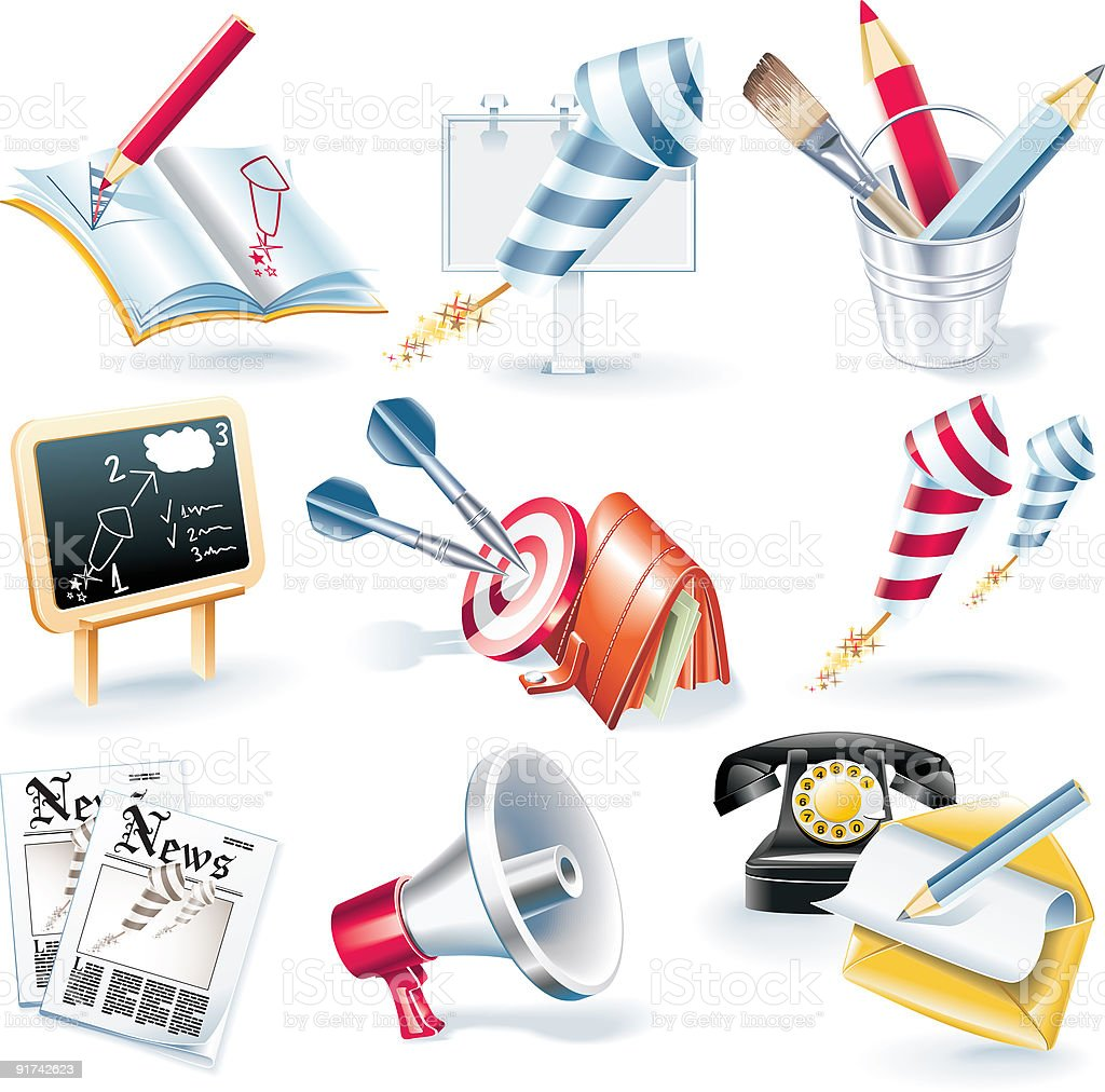 Advertising campaign icon set royalty-free stock vector art