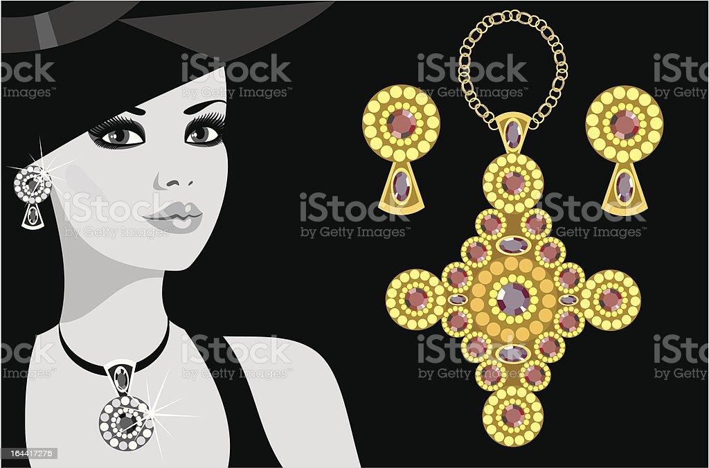 advertising jewelry vector art illustration