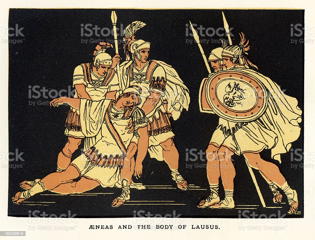 Aeneas and the body of Lausus vector art illustration