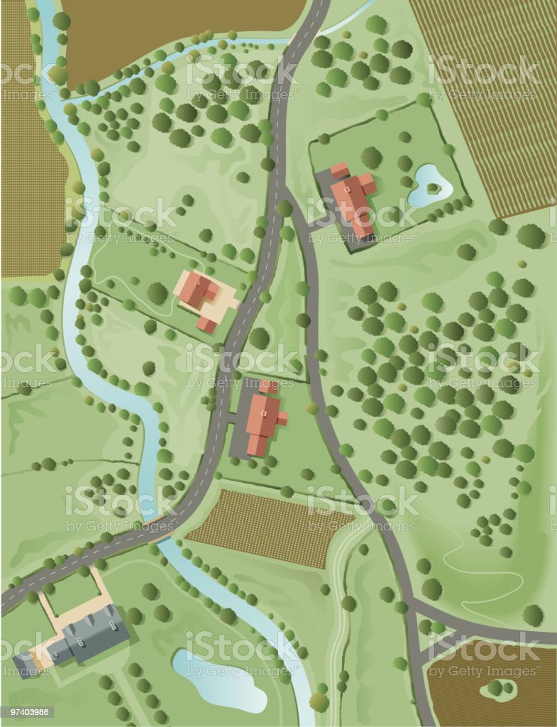Aerial landscape vector art illustration