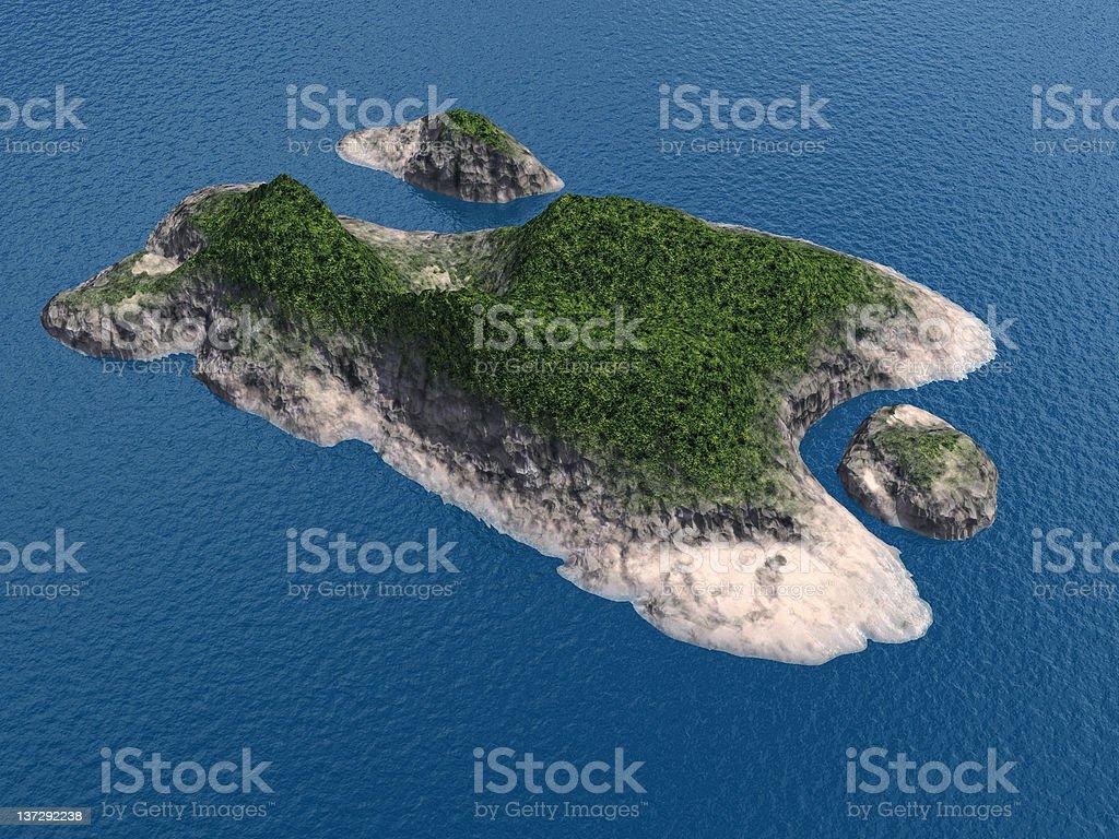 Aerial view of island vector art illustration