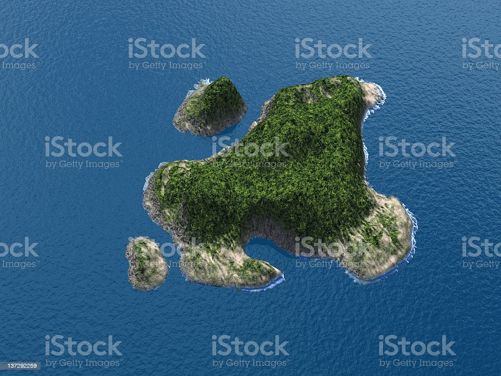 Aerial view of tropical island vector art illustration