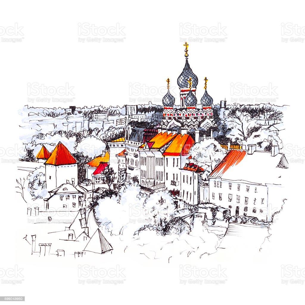 Aerial view old town, Tallinn, Estonia vector art illustration