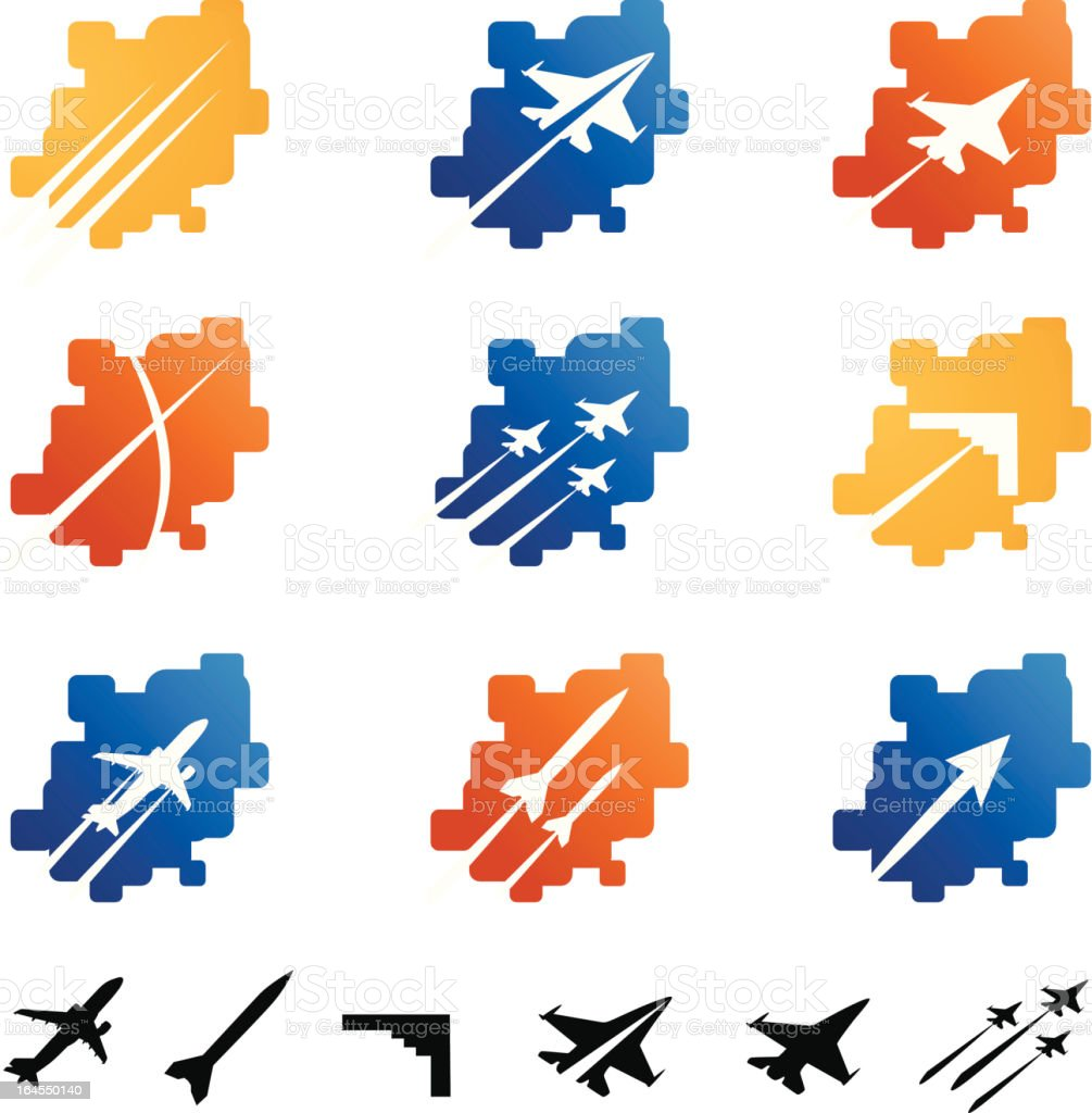 Aerospace and Military Elements vector art illustration