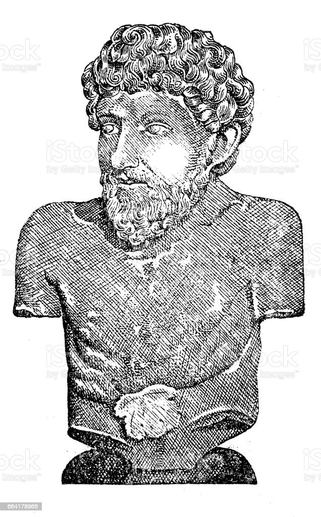 Aesop, an ancient Greek fabulist and story teller (620–564 BC) vector art illustration