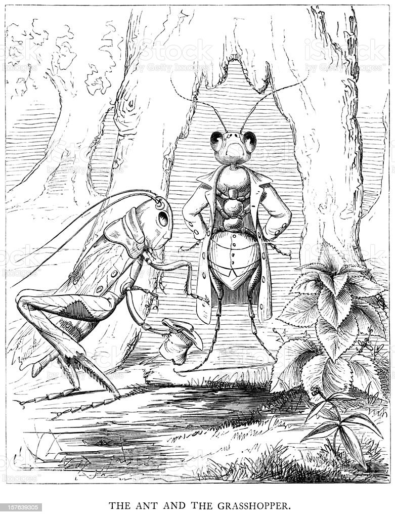 Aesop's Fables - The Ant and Grasshopper vector art illustration