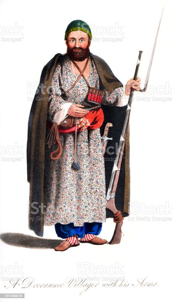 Afghan Dooraunee Villager with his Weapons Period Costume royalty-free stock vector art