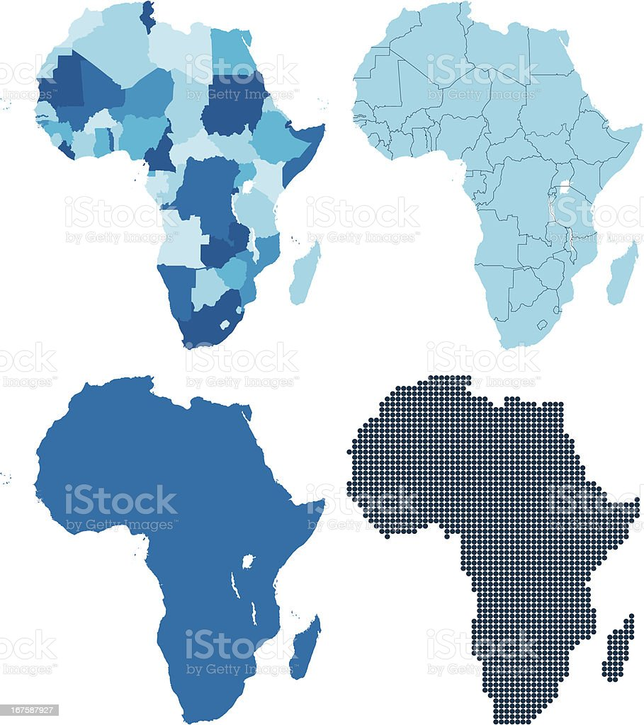 Africa four different blue maps royalty-free stock vector art