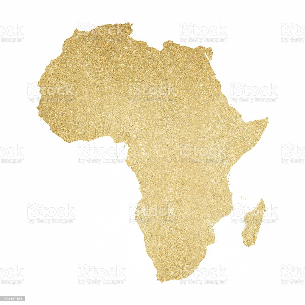 Africa Gold Glitter Map Royaltyfree Stock Vector Art