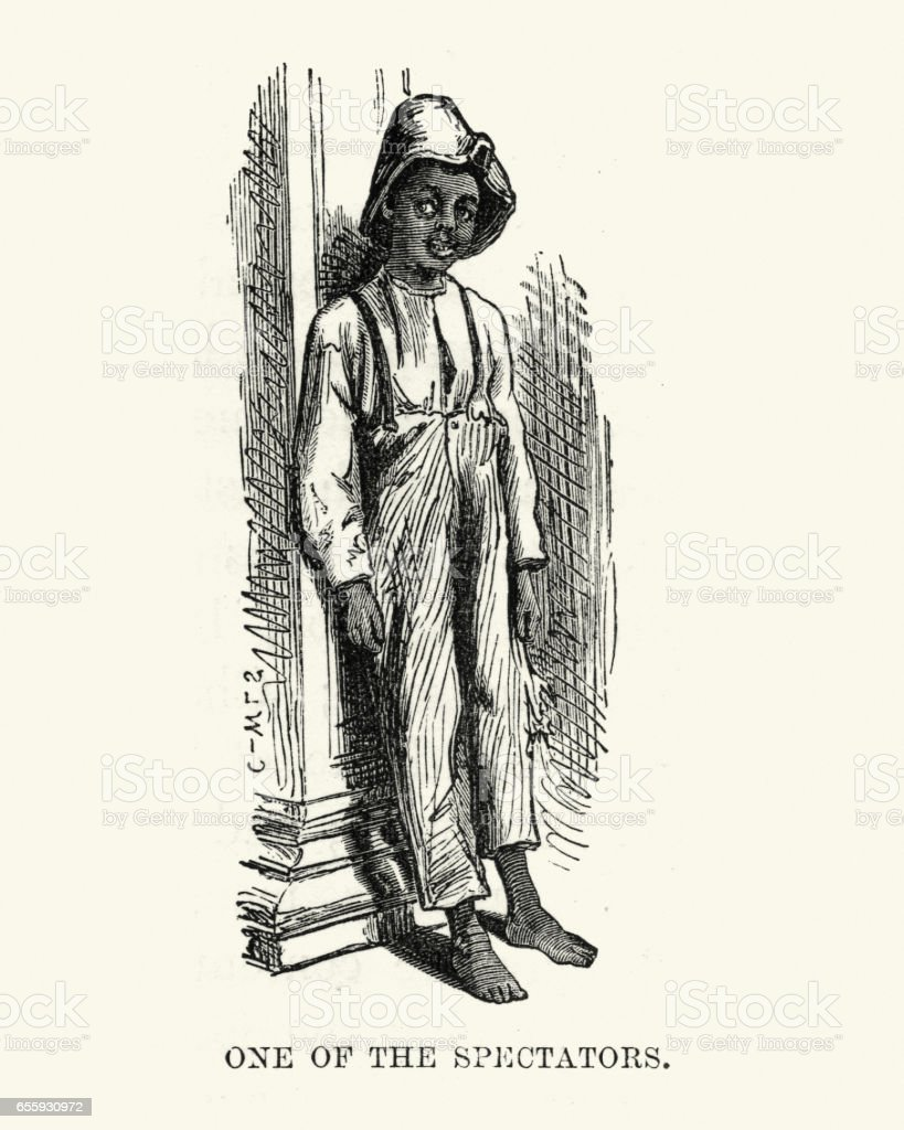 African american boy of New Orleans, 19th Century vector art illustration