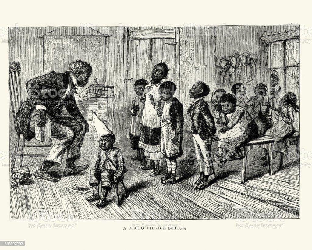 African american village school, 19th Century vector art illustration