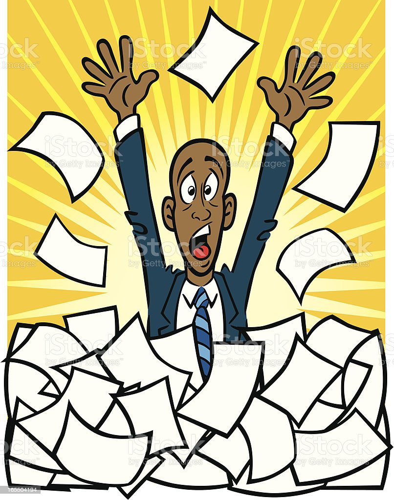 African American With Paperwork royalty-free stock vector art