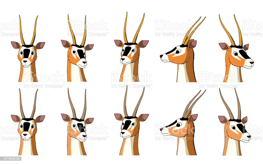 African Antelope Gazelle Isolated on White Background vector art illustration