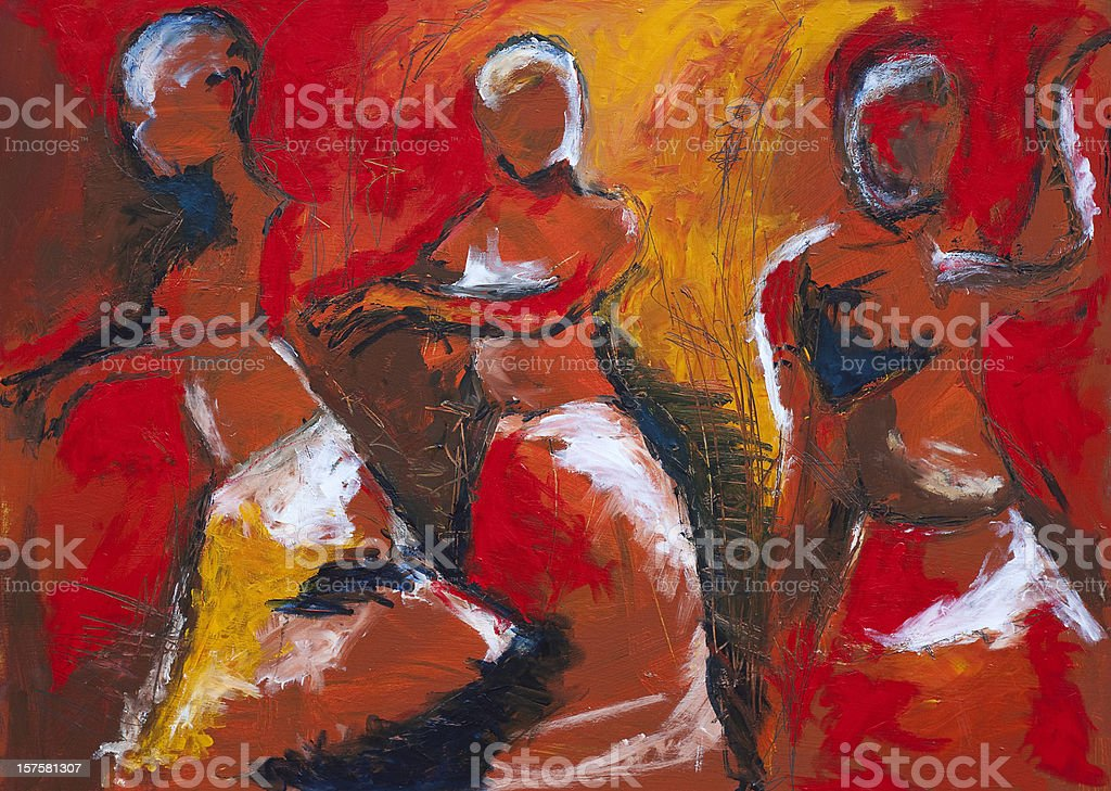 African dancers vector art illustration