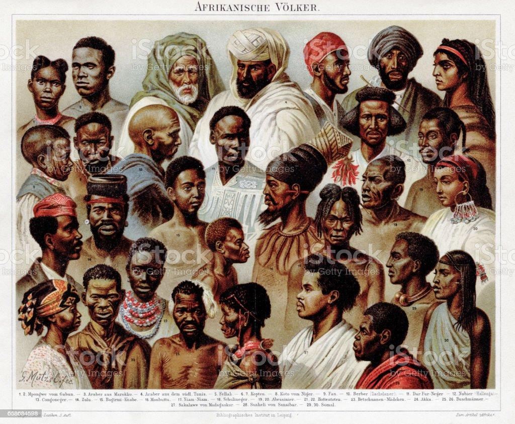 African ethnicity chromolithograph 1895 vector art illustration