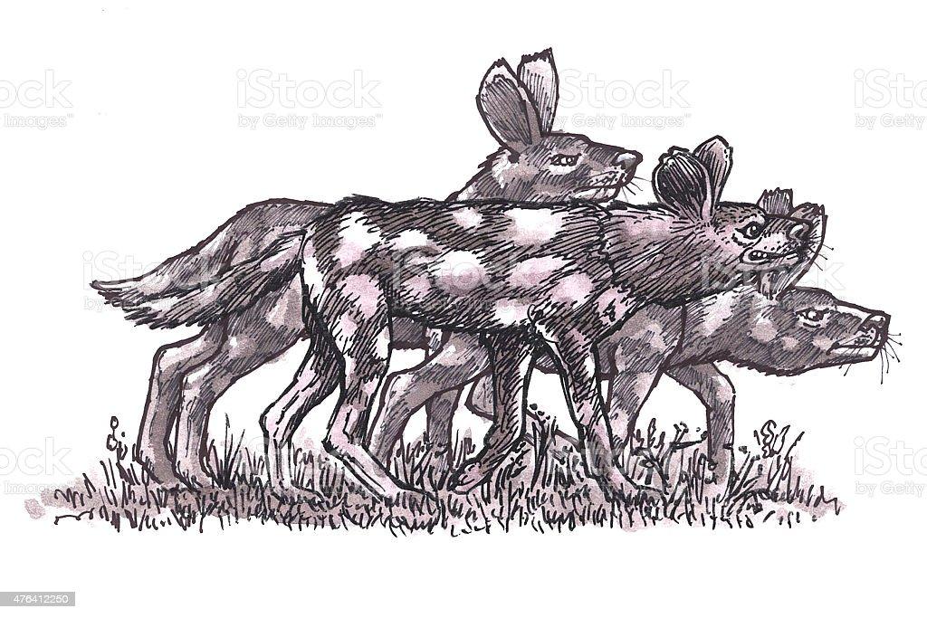 Afrikanischer Jagd Hunde (Comic) Lizenzfreies vektor illustration