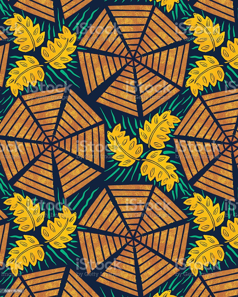 African Inspired Fabric or Background Pattern vector art illustration