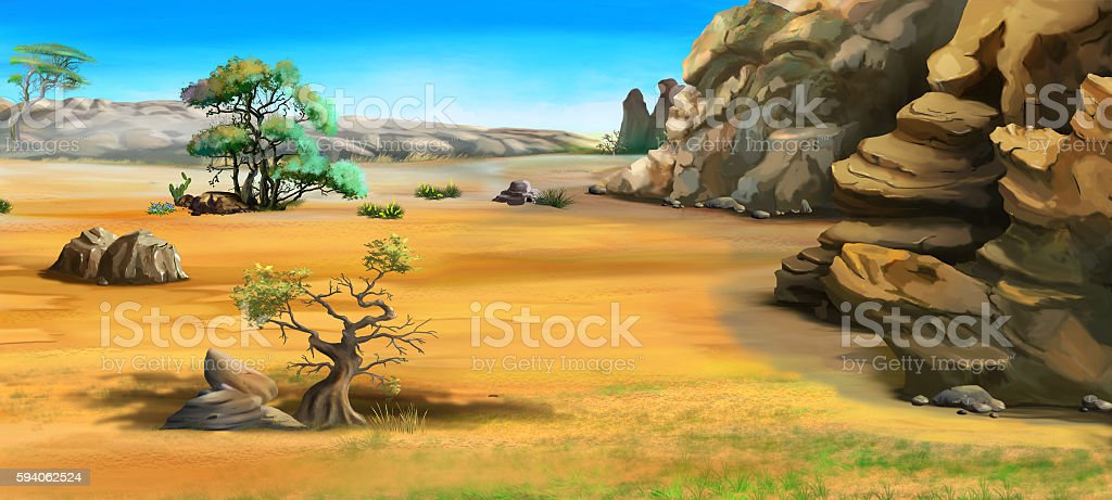 African Landscape with Trees Near the Mountains vector art illustration