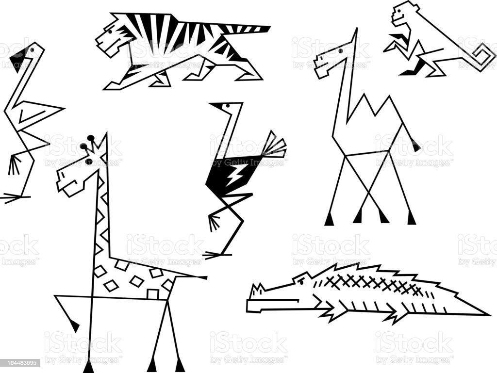 African savanna animals royalty-free stock vector art