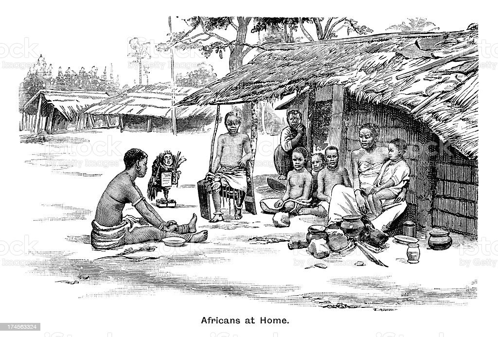 Africans at home - Victorian engraving royalty-free stock vector art