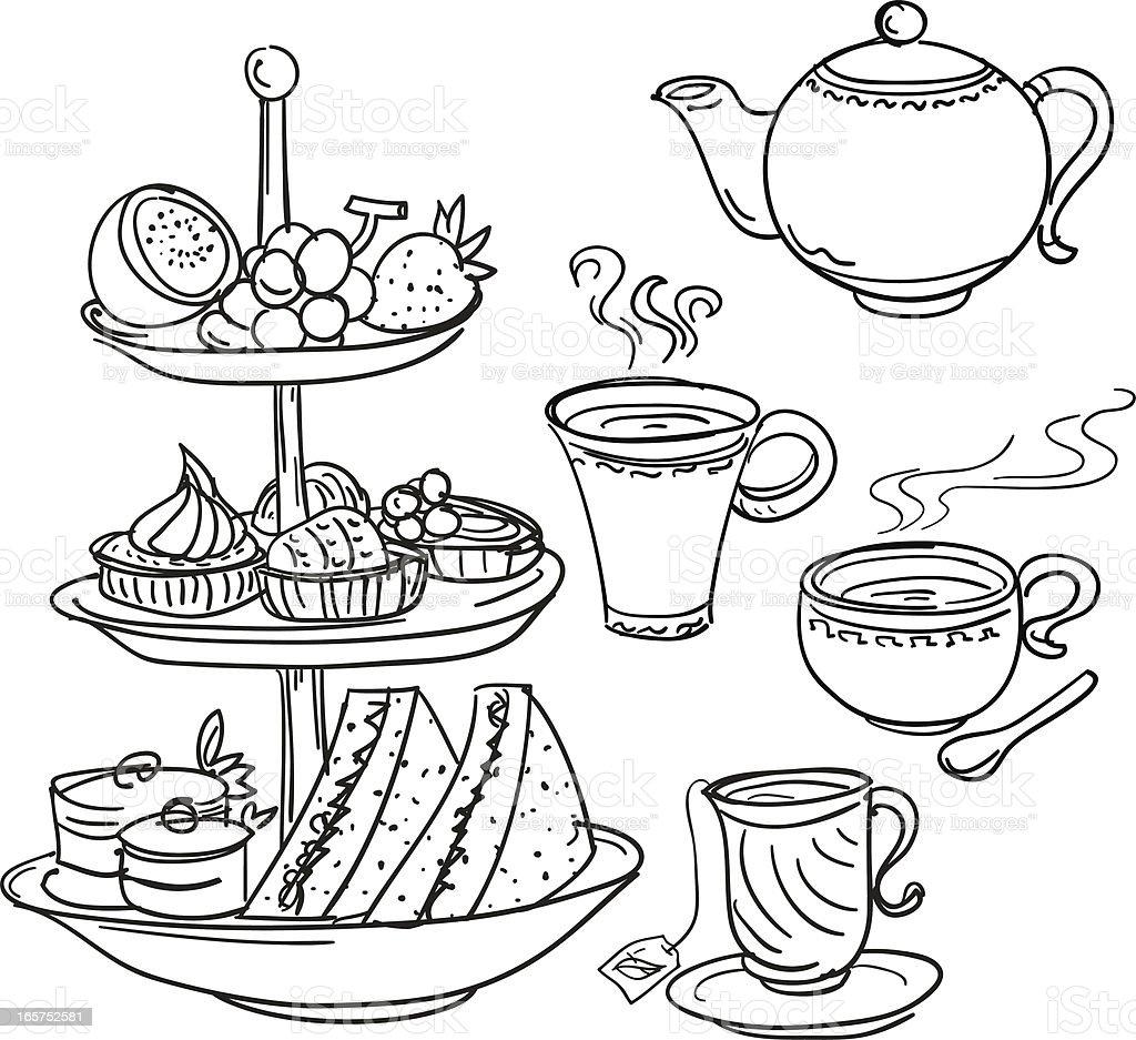 Afternoon tea set in sketch style vector art illustration