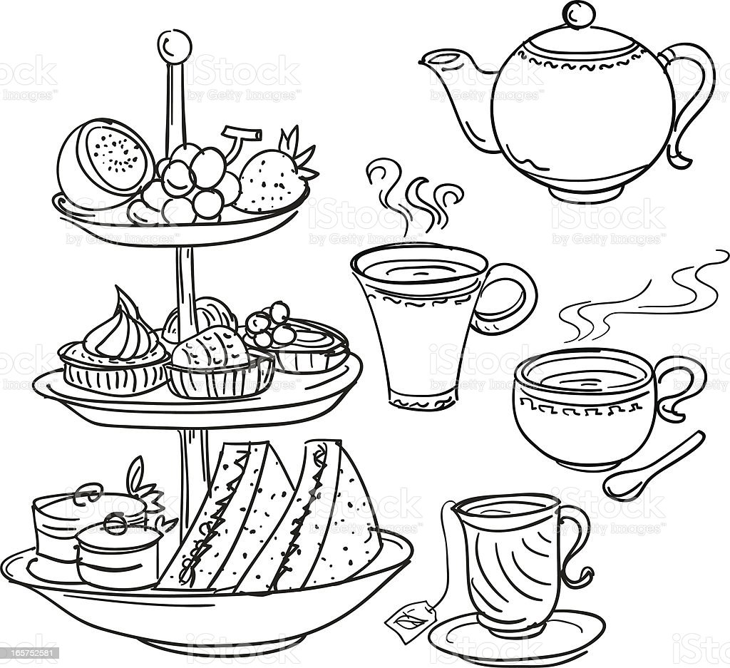 Afternoon tea set in sketch style vector art illustration