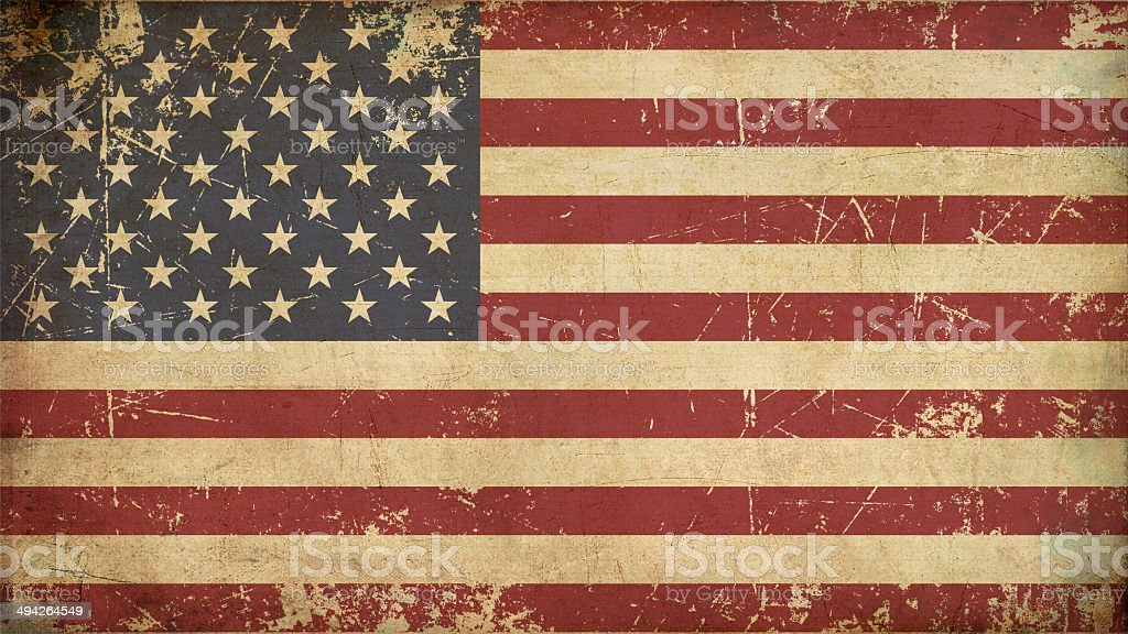 USA Aged Flat Flag vector art illustration