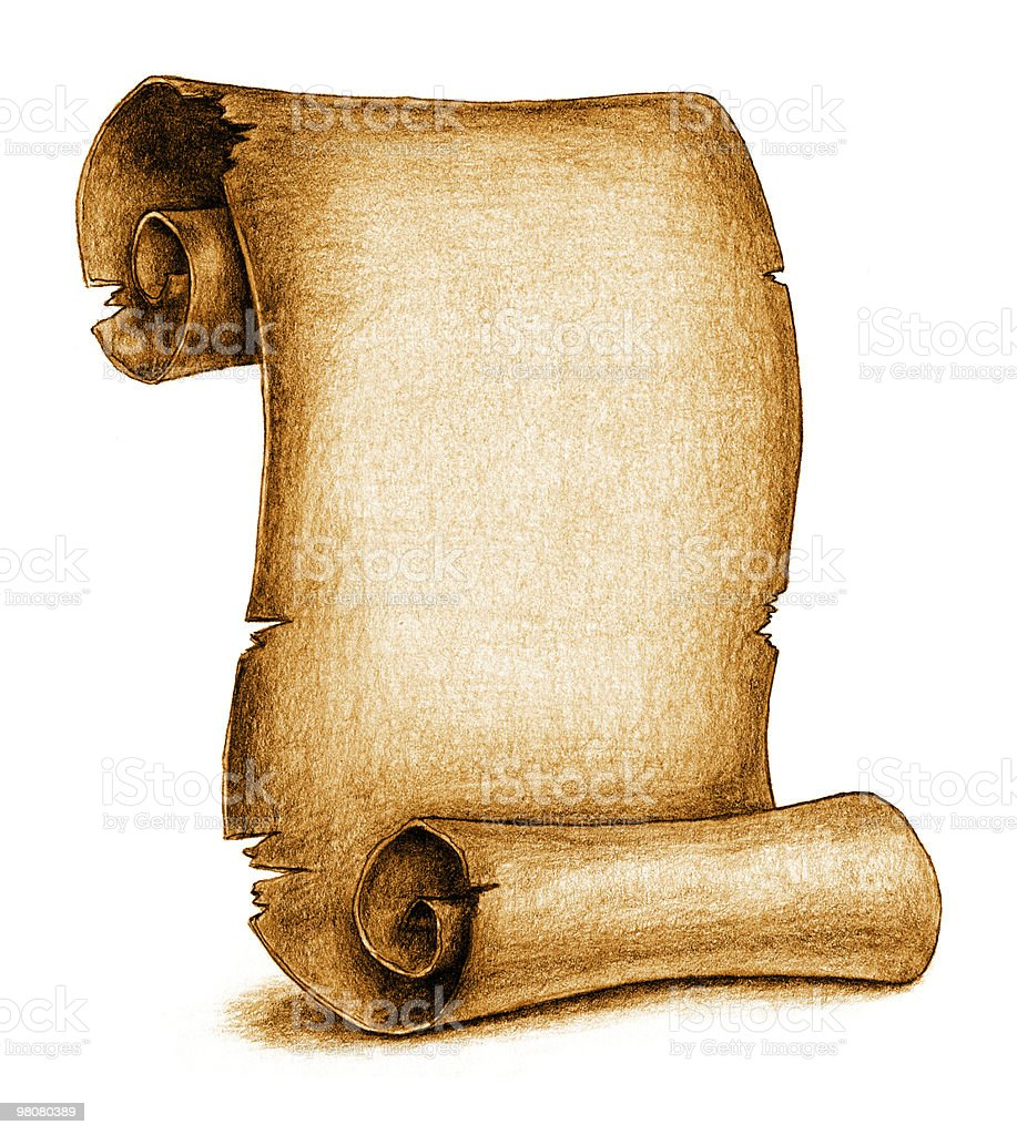 Aged Scroll (with clipping path) royalty-free stock vector art
