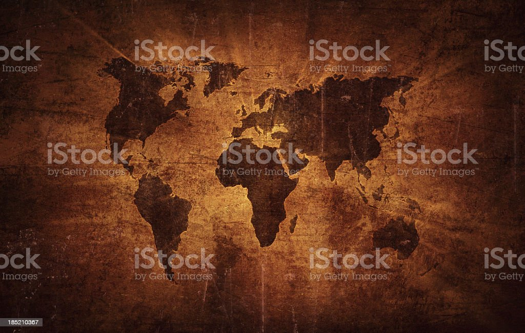Aged world map royalty-free stock vector art