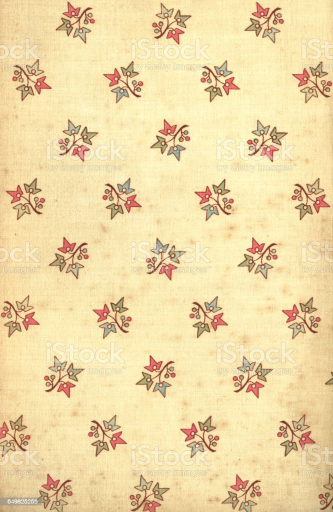 Age-stained Victorian floral patterned fabric vector art illustration