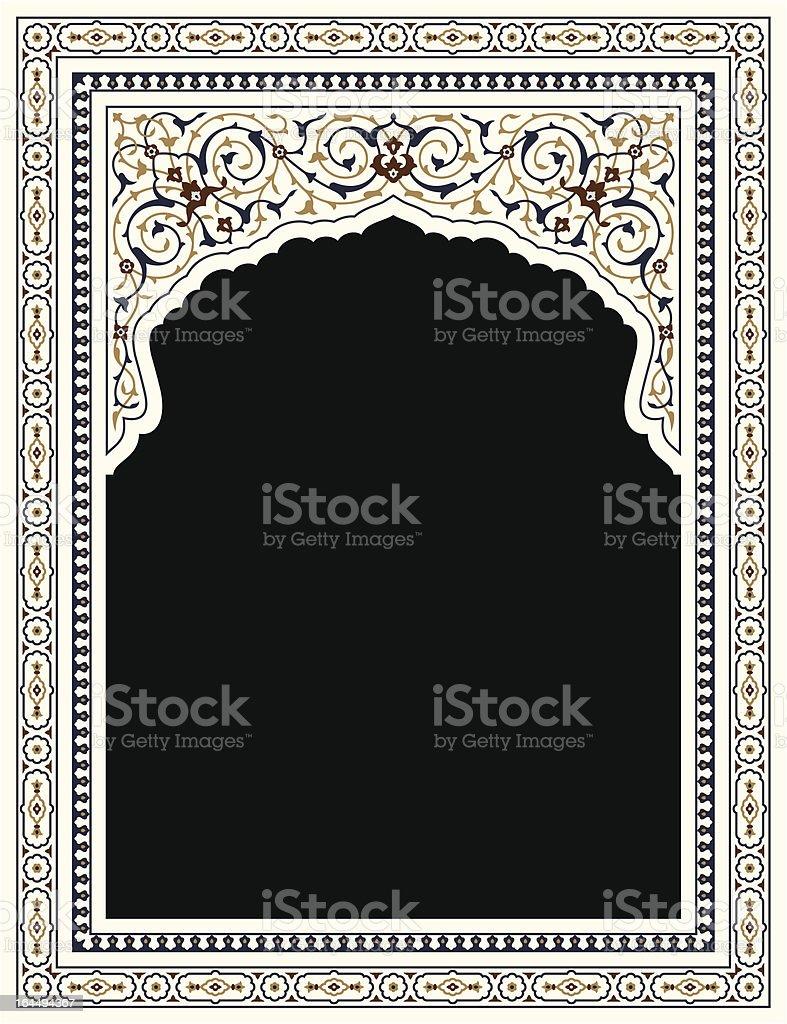 Agra Complex Floral Frame vector art illustration