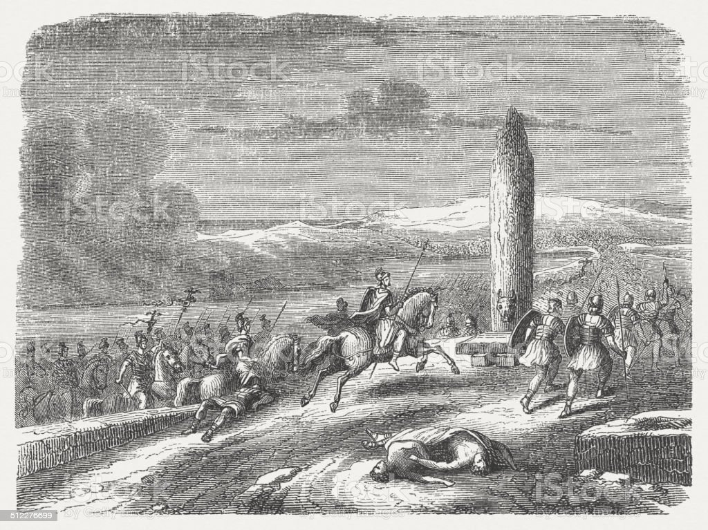 Agricola's Landing in Britain (77 AD), wood engraving, published 1864 vector art illustration