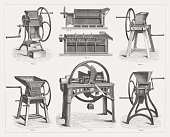 Agricultural equipment, wood engravings, published in 1877