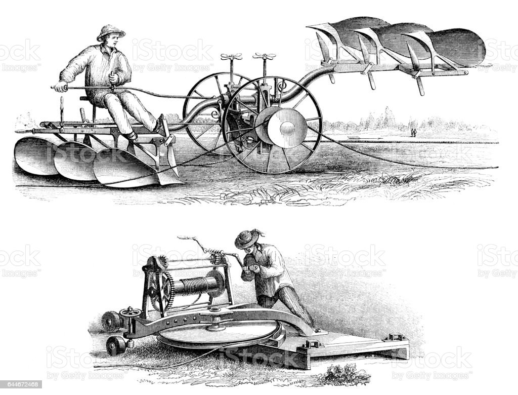 Agricultural plow system powered by a cable 1865 vector art illustration