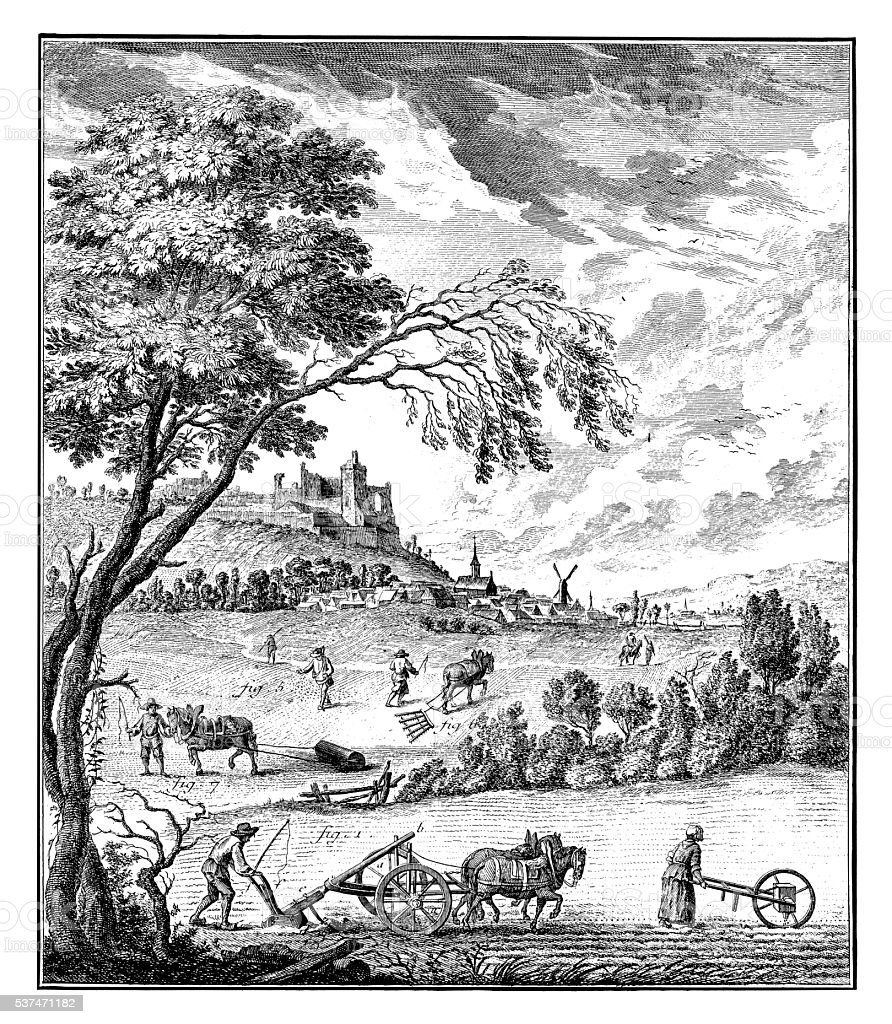 Agriculture and Rural Arts (antique engraving) stock photo