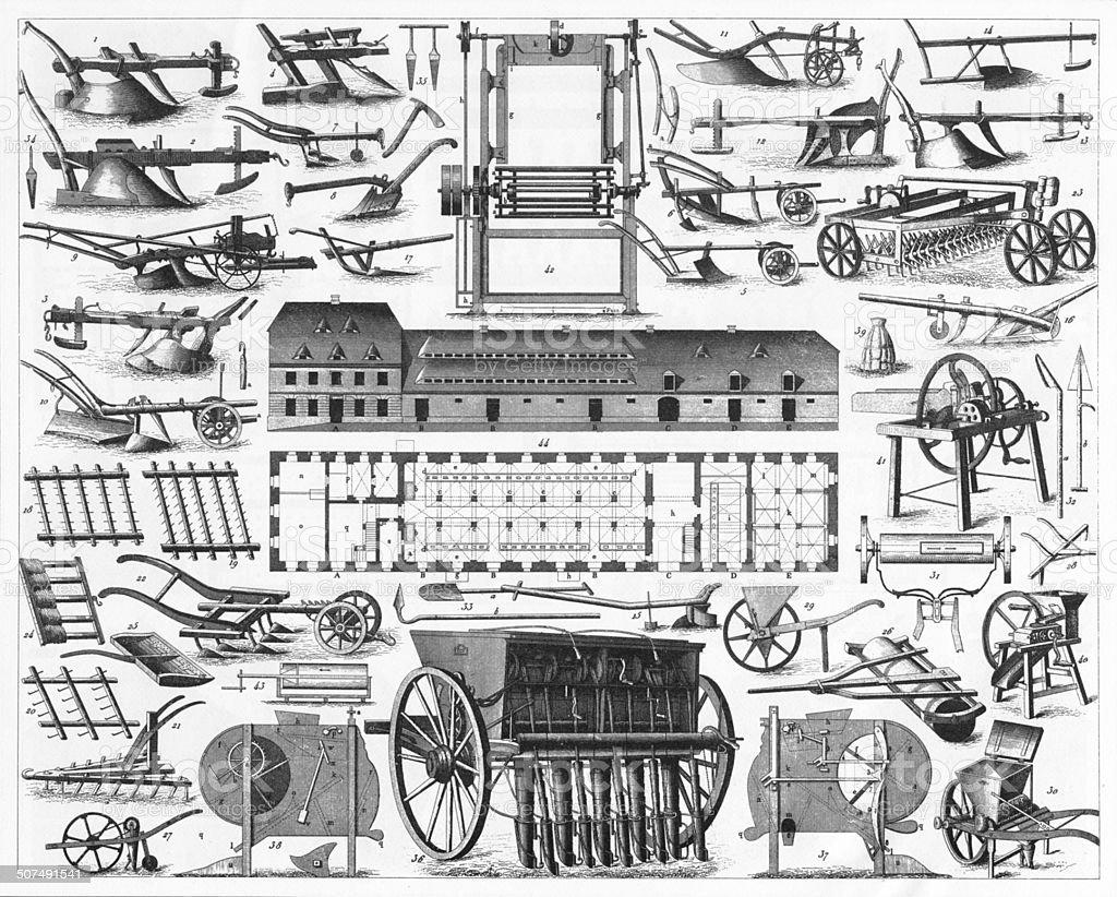 Agriculture Engraving vector art illustration