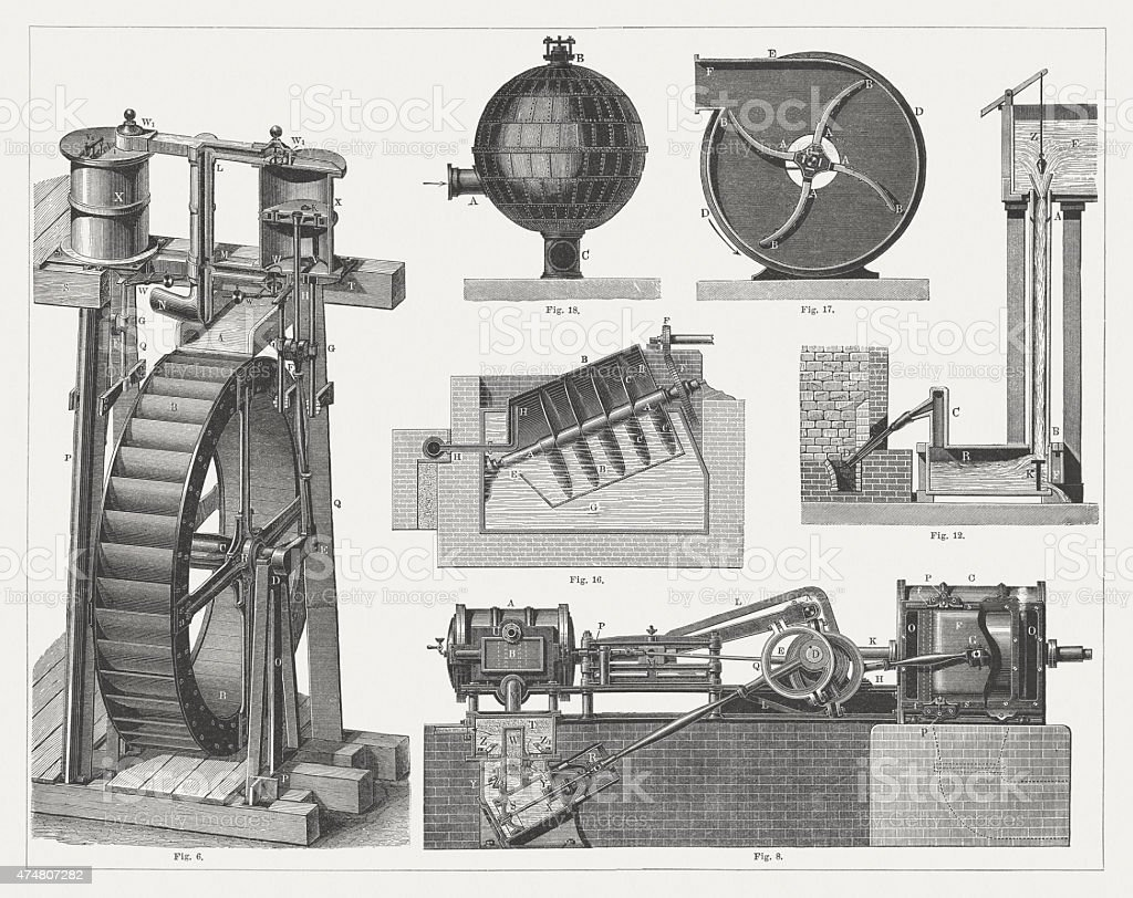 Air blowers, wood engravings, published in 1876 vector art illustration