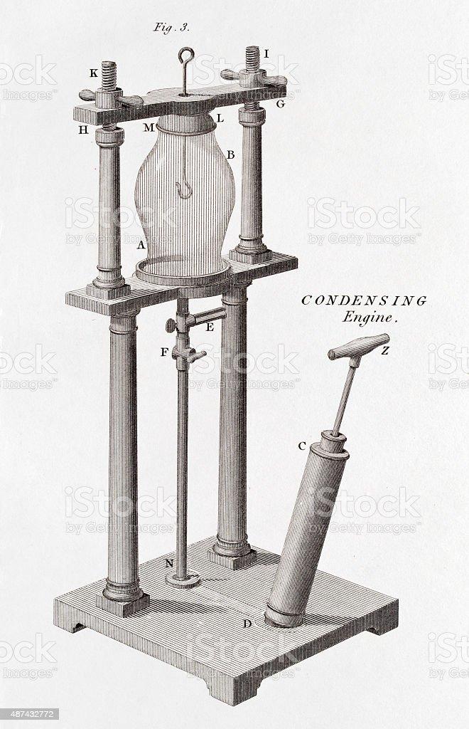 Air condensing engine, 19 century scientific illustration vector art illustration