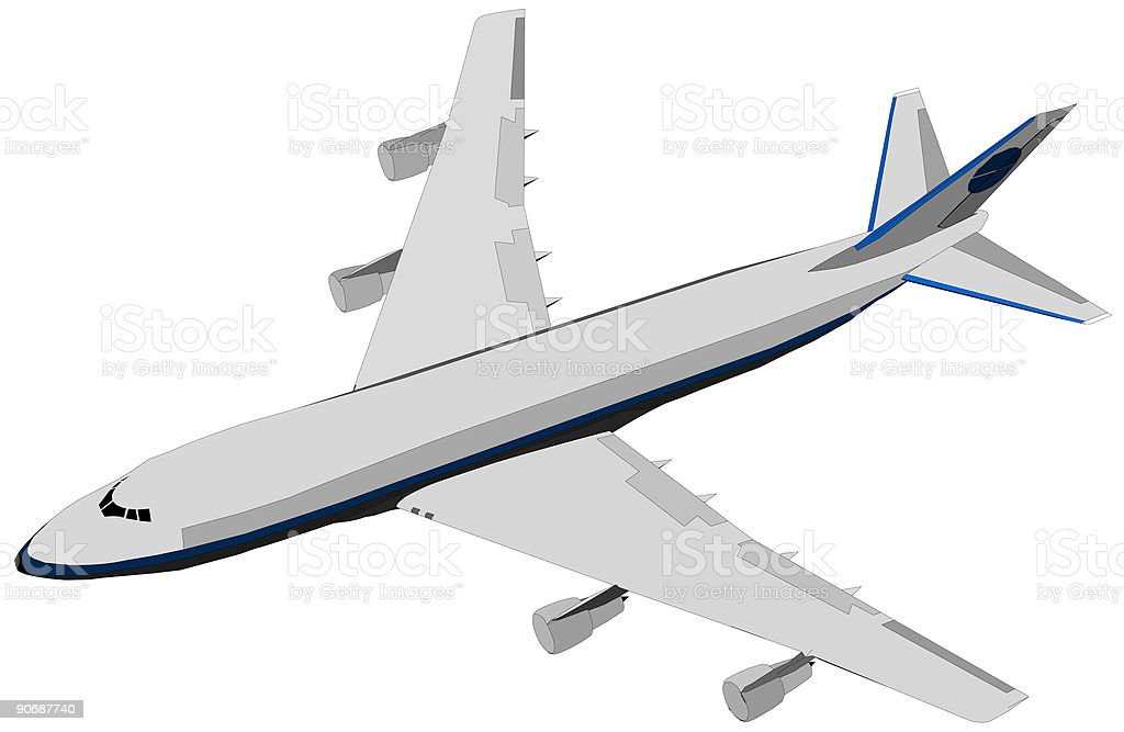 Air plane Boeing 747 vector art illustration