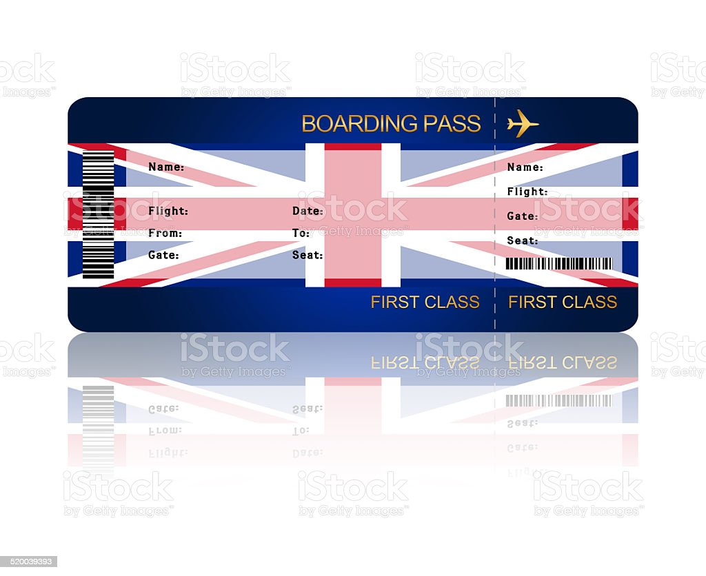 air ticket with great britain flag stock vector art 520039393 istock