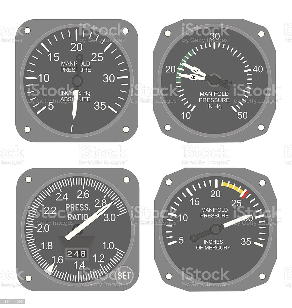 Aircraft gauges (set #1) vector art illustration
