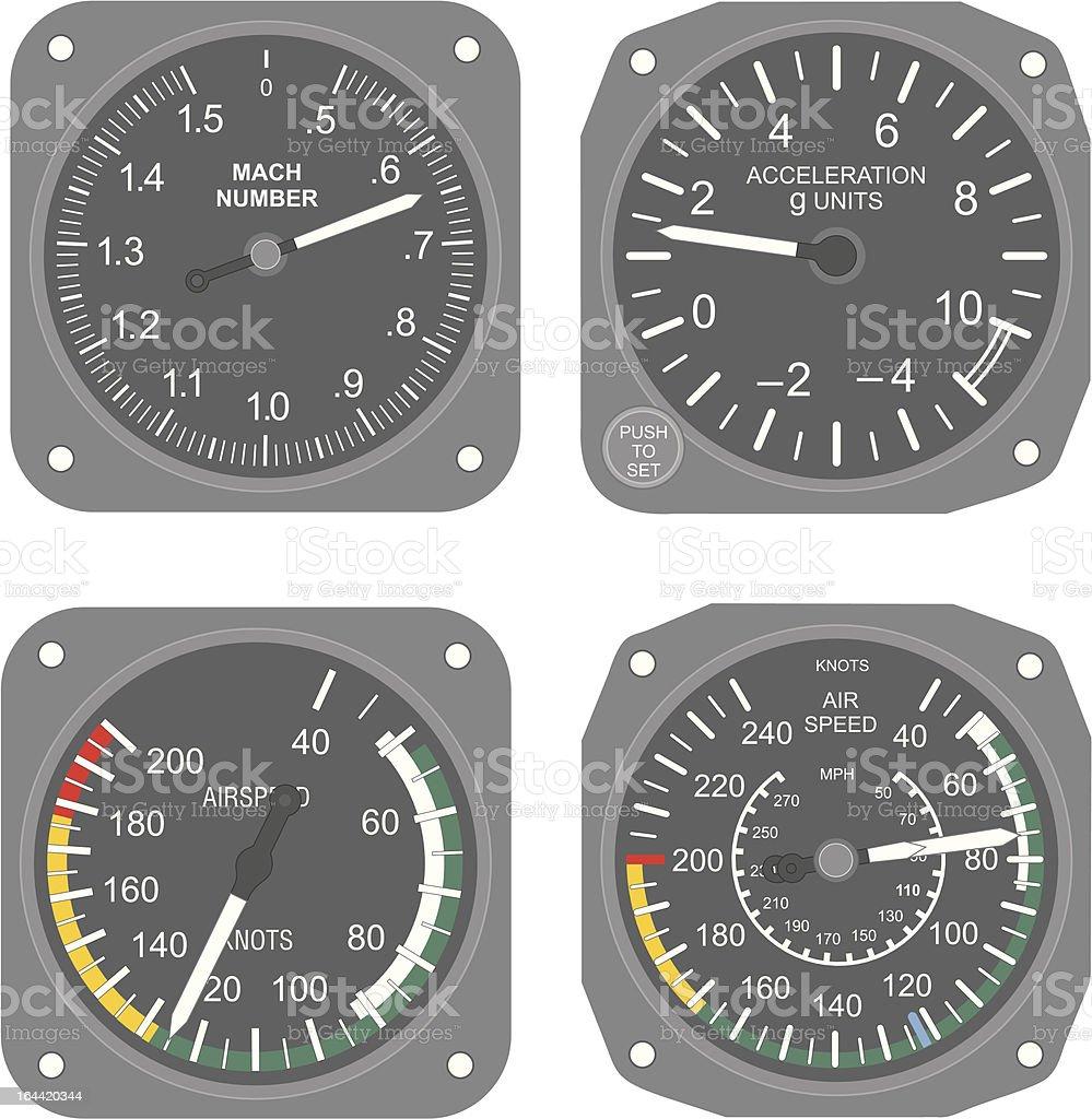 Aircraft instruments (set #3) vector art illustration