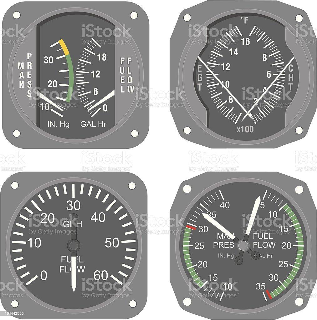 Aircraft instruments (set #6) royalty-free stock vector art