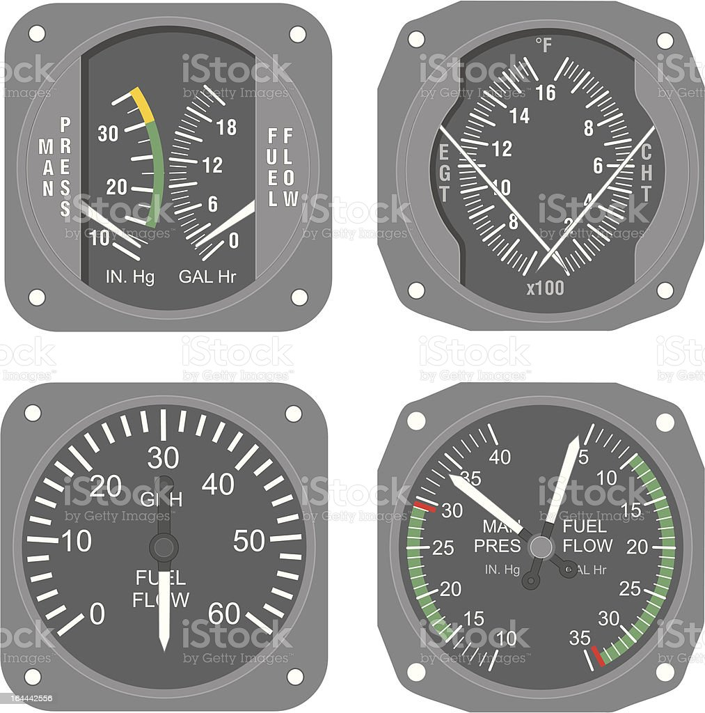 Aircraft instruments (set #6) vector art illustration