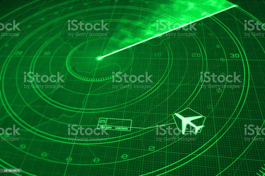 Airplane flight simulator on green radar display with coordinates vector art illustration