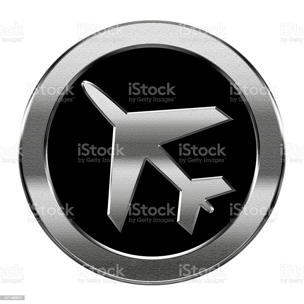 Airplane icon silver, isolated on white background. royalty-free stock vector art