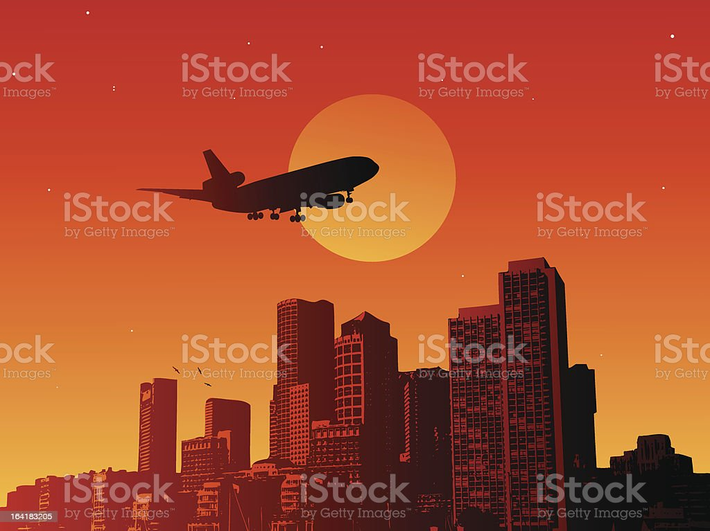 Airplane in the sunset royalty-free stock vector art